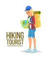 hiking girl leading healthy lifestyle vector image vector image