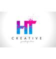 ht h t letter logo with shattered broken blue vector image vector image