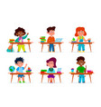 kids at school desk pupils multiethnic boys and vector image