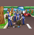 kids volunteering by cleaning up the road vector image vector image