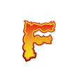 letter f fire flames font lettering tattoo vector image vector image