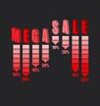 mega sale advert on dark background vector image vector image