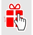 Mouse hand cursor on gift sticker label vector image