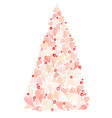 pink heart christmas tree watercolor vector image
