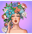 pop art girl with flower wreath on head vector image vector image