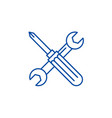 screwdriver and wrench line icon concept vector image