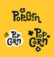 set 3 popcorn text labels in sloppy tight vector image vector image