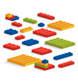 set of plastic lego pieces or constructor vector image