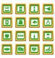 shop navigation foods icons set green vector image vector image