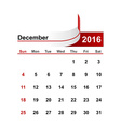 simple calendar 2016 year december month vector image