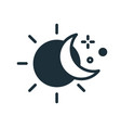 simple icon in line art style with sun half-moon vector image