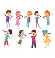 singing childrens male and female kids standing vector image vector image