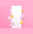 spring paper cut 3d flower vertical template vector image