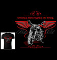 t-shirt for bikers with motorcycle vector image vector image