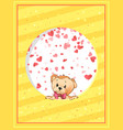 teddy bear with bow peeking out from round vector image vector image