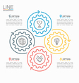 thin line circle infographic template with gears 4 vector image vector image