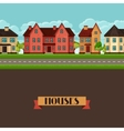 Town seamless border with cottages and houses vector image vector image