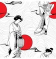 traditional Japanese Geisha seamless pattern vector image vector image