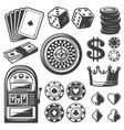 vintage casino elements set vector image vector image