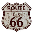 weathered route 66 sign vector image
