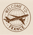 welcome to france travel stamp on beige vector image