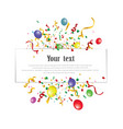 white paper banner colored balloons and colored vector image vector image