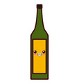 wine glass bottle kawaii cute cartoon vector image vector image