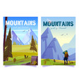 woman hiker travels on mountain valley vector image vector image