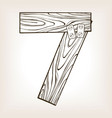 wooden number 7 engraving vector image vector image