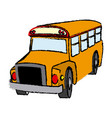 yellow bus vehicle school transport vector image