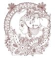 zentangl girl in the floral vector image vector image