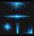 blue glowing lights set vector image