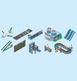 isometric airport elements set vector image