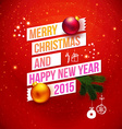 Red traditional Christmas card 2015 Typography vector image