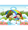 A couple dating near the rainbow vector image