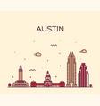 austin skyline texas usa linear style vector image vector image