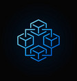 blockchain technology blue icon - block vector image vector image