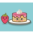 cake character cream and strawberry design vector image