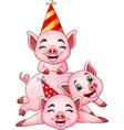 cartoon three little pig in a party cap vector image vector image