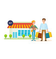 couple after shopping at mall on city street vector image vector image