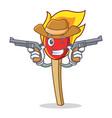 cowboy match stick character cartoon vector image