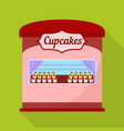 cupcakes street shop icon flat style vector image vector image