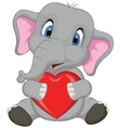 Cute elephant cartoon holding red heart vector image vector image