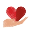 drawing hand holds heart love sing vector image