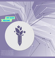 ecology pencil eco pen icon on purple abstract vector image vector image