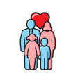 family outline color icon on white background for vector image