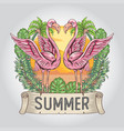 flamingo summer with nature leaf and coconut tree vector image vector image