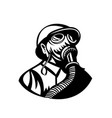 gasman wearing a hardhat and gas mask looking up vector image