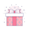 gift box with ribbon bow icon in line art vector image vector image