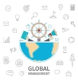 Global Management line art vector image vector image